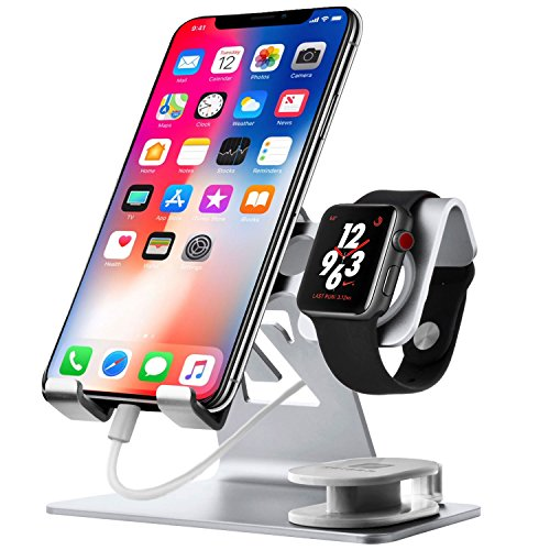 Chic_gifts Cell Phone Stand Compatible for Apple Watch Charger Charging Stand IPhone IWatch 2 in 1...
