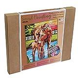 Arenart | 1 Lámina Caballos Campo 38x46cm | para Pintar con Arenas de Colores | Manualidades para Adultos y Jóvenes | Dibujo Fácil | Pintar por números | +9 años