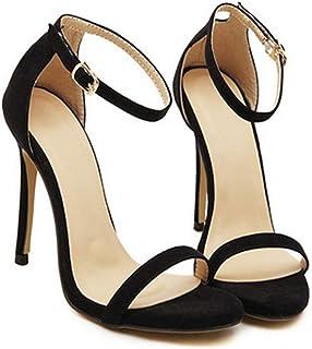 YOGLY Femmes Sandales Boucle Bout Ouvert Escarpins Été Sexy Talon Aiguille Haut Chaussures de Mariage Club Soiree