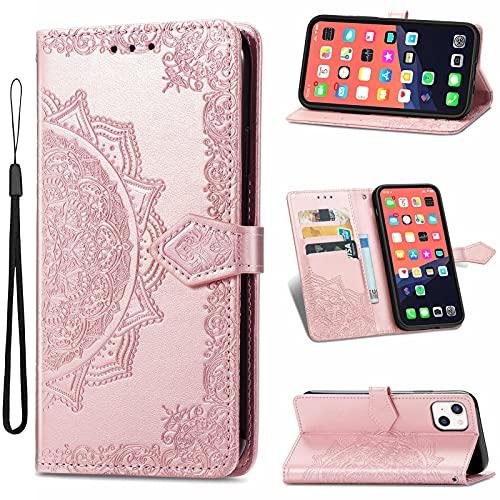 TOPOFU Funda para iPhone 11 Pro MAX 6.5' con Tapa, Magnético Carcasa con Tarjetero y Suporte, Cubierta Plegable Cartera, Libro Caso Móvil Cover Case-Oro Rosa