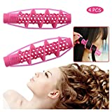 Hair Rollers, 4Pcs Salon Hairdressing Curlers, Spiral Curling DIY Tool, Hairdressing Styling Rods DIY Hair Tool, No Heat No Clip Styling Curls Roller