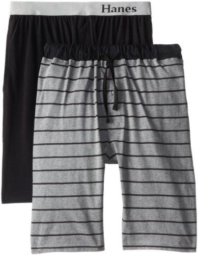 Hanes - Mens Tall 2 Pack Knit Jam Boxer Shorts, Grey Heather Stripe, Black 39651-LargeTall