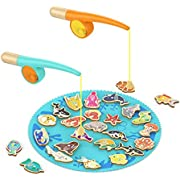 TOP BRIGHT Magnetic Fishing Game WoodenToy for Kids - Alphabet Fish Catching Counting Preschool Board Games Toys for 2 3 4 Year Old Girl Boy Toddler