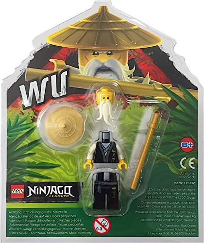 LEGO Ninjago Minifigur: Sensei Wu (Legacy) in schwarzer Robe mit goldenem Stab