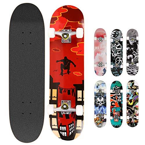 Hikole Skateboard Completo in Legno 79x20 cm in Acero Canadese 31 Pollici, Ruote 85A per Principianti Bambini e Adulti