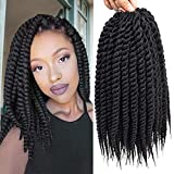 Admutty Havana Twist Crochet Hair 6 Packs 12 inch Crochet Braids Senegalese Twist Crochet Braiding Hair (1B)