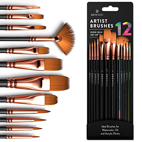 Professional Artist Paint Brush Set of 12 - Painting Brushes Kit for Kids, Adults Fabulous for Canvas, Watercolor & Fabric - for Beginners and Professionals - Great for Water, Oil or Acrylic Painting