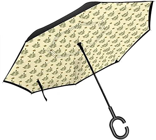 Laubblätter Mit Blüten Auf Cremefarbenen Vintage-Stil-Hintergrund-Regenschirmen Mit C-förmigem Griff, Auto-Reverse-Regenschirm