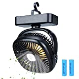 TOMNEW Portable Camping Fan with LED Lights,USB or 4400 mAh Rechargeable Battery Powered, Tent Fan Lights/Personal USB Desk Fan with Hook for Camping,Office,Bedroom