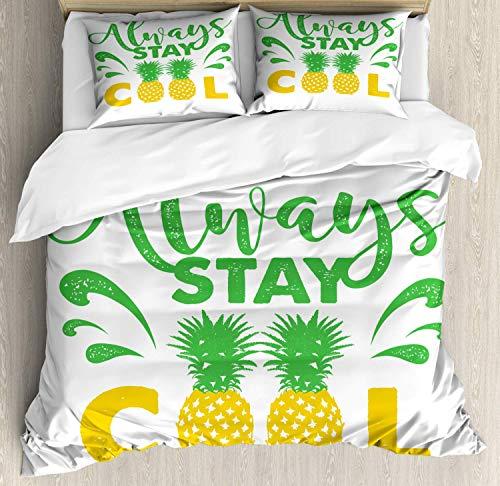 Conjunto de funda nórdica Stay Cool, caligrafía Always Stay Cool Summer Vibe Pineapple Fruit, juego de cama decorativo de 3 piezas con 2 fundas de almohada, verde lima tierra amarillo y blanco TWIN /
