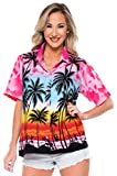 LA LEELA Women's Swim Hawaiian Shirt Office Wear Short Sleeve Shirts M Pink_W964