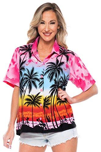 LA LEELA botón Camisa Hawaiana Blusa Playa Mujeres Cuello Manga Corta árboles Palma impresión del Traje de baño Partido M-ES Tamaño-44-46 Rosa_W964