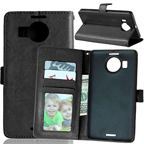 YYhin Case per Cover Nokia Microsoft Lumia 950XL - Custodia Protettiva in Pelle Morbida di Alta qualità per Portafoglio con Custodia Chiusura Magnetica Slot per schede(DK01/nero)