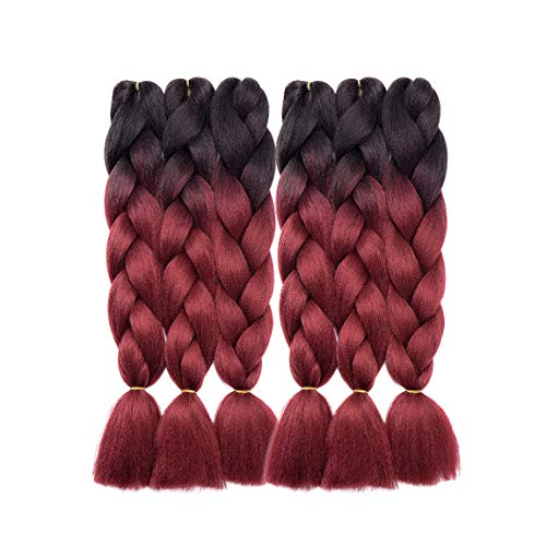 6 Packs Ombre Jumbo Braiding Hair Extensions Synthetic Braids Hair Extension 24 inch Dark Black to Dark Red