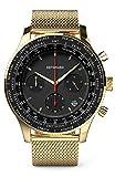DETOMASO Firenze Chronograph Black Gold Herren-Armbanduhr Analog Quarz Mesh-Armband Gold