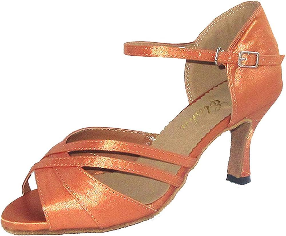 Women Latin Dance Shoe 3 Inches Flared Heel Salsa Ballroom Open Toe Dance Shoe Socials Party Dancing Sandals More Colors