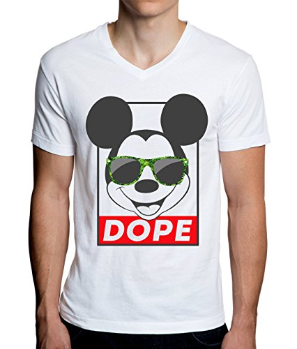 Mickey Mouse with Weed Sunglasses Dope Funny Graphic Design Men's V-Neck T-Shirt Large