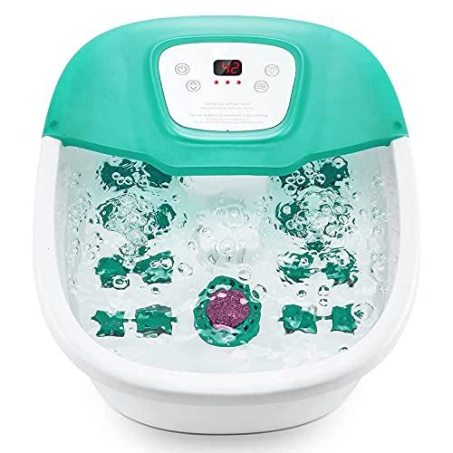 Masajeador de pies con calor, burbuja y vibración, 16 rodillos de masaje, tiempo y...