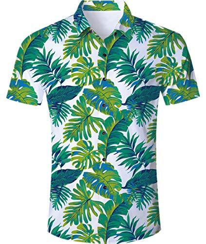 Idgreaim Männer Männer Freizeihemd Herren Hemd Hawaiihemd 3D 90er Jahre Papierschale Kurzarm Hemden Shir Graffii Hemden Shirs