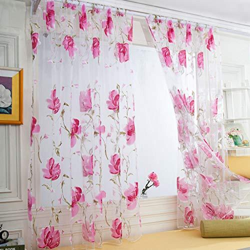 HWTOP 1 STÜCKE Reben Blätter Tüll Türfenstervorhang Drapieren Panel Floral Print Sheer Schal Volants Vorhang Voile Transparent Vorhänge (Rot, 250 cm x 100 cm)