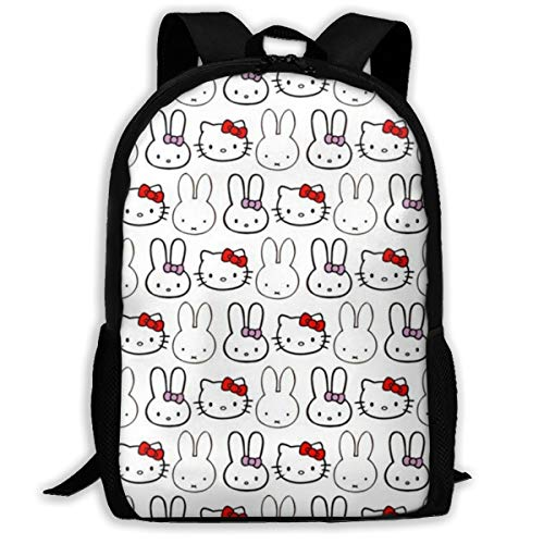 Hello Kitty and Miffy Unisex Fashion Oxford School Bags Hiking Backpack Cool Sports Backpack Laptop Rucksack School Backpack