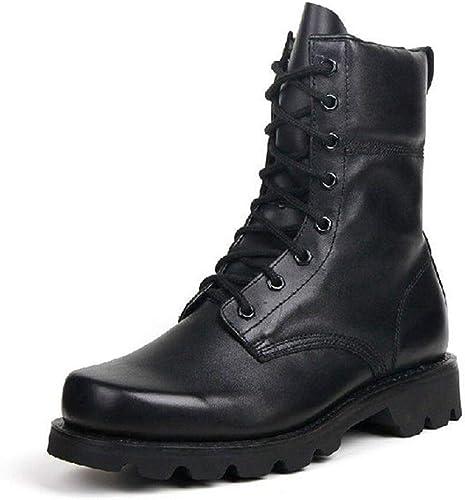 Qiusa Stiefel Militares para Hombre de Invierno Antideslizantes Impermeables Stiefel de Confort de Cuero Genuino (Farbe   schwarz, tamaño   EU 43)