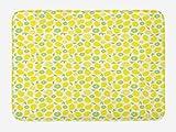 ABAKUHAUS Frutas Tapete para Baño, Limones y limas Mitad Rebanadas, Decorativo de Felpa Estampada con Dorso Antideslizante, 45 cm x 75 cm, Amarillo Blanco