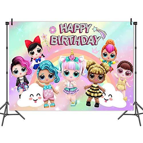 LOL 3021063 - Decoración de cumpleaños para niños, diseño de LOL Sorpresa de fotografía, 1,5 x 3,3 pies, 2,1 x 1,5 m