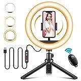 Cocoda Ring Light 10 Pouces avec Trépied & Support Téléphone, Anneau Lumineux Selfie Dimmable pour Diffusion en Direct/Maquillage/Appel Vidéo/Selfie avec 3 Modes d'Éclairage & 10 Niveaux de Luminosité