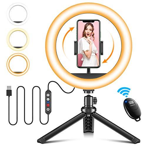 Cocoda Ring Light, 25cm Dimmerabile Luce per Selfie con Treppiede Smartphone per Trucco/Streaming Live/Riprese Video con 3 Modalità di Illuminazione & 10 Livelli di Luminosità