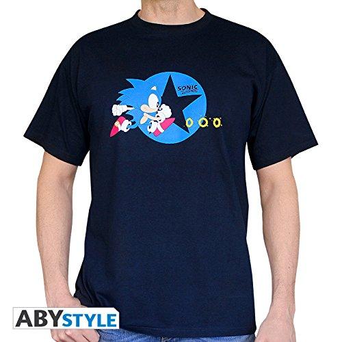 ABYstyle - Sonic - Camiseta - Running - Hombre - Azul Marino (XXL)