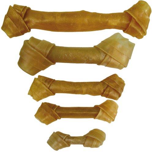 Schecker Geknotete Kauknochen 750 g (25Stck.) a 11cm aus gepresster Rinderhaut Ideal für Junge Hunde und Senioren Hunde