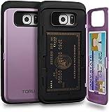 TORU CX PRO Galaxy S6 Edge Wallet Case Purple with Hidden Credit Card Holder ID Slot Hard Cover & Mirror for Samsung Galaxy S6 Edge - Lavender
