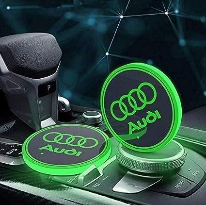 WUDENGM Sottobicchiere dAcqua a LED per Auto Bottiglia Impermeabile Logo LED Drinks Coaster 7 Colori di Ricarica USB Mat Coppa Mat 2Pcs Adatto for Auto Interni atmosferici Lights Color : Audi