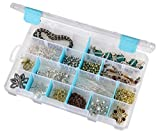ArtBin 6847AG Medium Box with Removable Dividers, Jewelry & Craft Organizer with Anti-Tarnish Technology, [1] Plastic Storage Case, Clear with Aqua Accents, (10.75' x 7.375'), 0