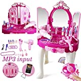 LIONFOR Make Up Dressing Table Glamour & Beauty Set with Mirror,Stool,Hair Dryer,Lipstick,Necklace & Accessories with Play Mp3 Music Best Girls Gifts