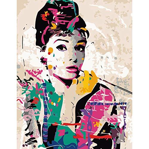 Mileelife Pintar por números para niños Adultos Kit de Pintura al óleo DIY Principiante - Audrey Hepburn 1270