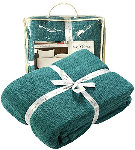 All Season Cotton Thermal Blanket in Basket Weave -Perfect for Layering Any Bed, Teal Color Size 60x90 inch,Light Thermal Blankets,Twin Thermal Blankets,Breathable Blanket,Twin Thermal Blankets