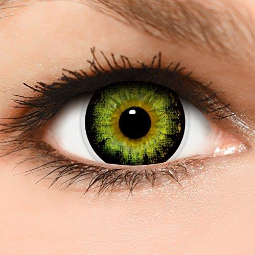 Circle Lenses grüne 'Circle Green' farbig ohne und mit Stärke + Behälter 14,50mm farbige Kontaktlinsen