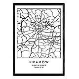 Nacnic Lámina Mapa de la Ciudad Kaków Estilo nordico en Blanco y Negro. Poster tamaño A3 Sin Marco Impreso Papel 250 gr. Cuadros, láminas y Posters para Salon y Dormitorio
