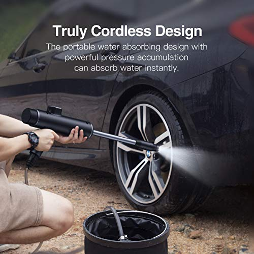 Baseus Car Washer Machine 50W 5V/2A Portable Cordless Pressure Washers ,Can Adjust Water Pressure Electric Power Washer with 3.5 M Water Pipe for Cleaning Car Wash / Fences/Patios/Garden