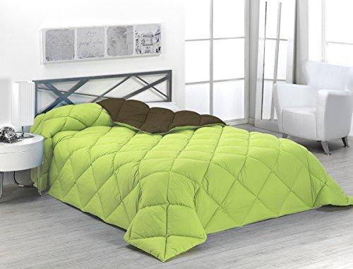 Sabanalia - Edredón nórdico de 400 g reversible (bicolor), para cama de 90/105 cm, color verde y chocolate