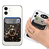 POLIFALL Leather Phone Card Holder (StarGlow) 5 in 1 Stick On Wallet Sleeve Back - Double Pocket + Finger Ring Stand + Metal Plate for Magnet Mount + RFID Block for iPhone, Galaxy, Android, Mobile