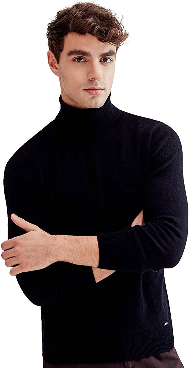 ZHILI Men's Turn-Down Collar Pullover Cashmere Sweater