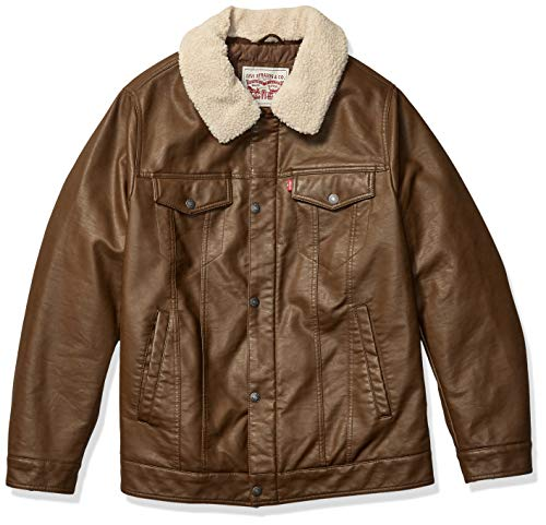 Levi's Men's Big & Tall Faux Leather Trucker Jacket with Detachable Collar, Deep Earth, X-Large Tall