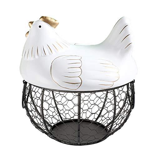 TimseYom - Soporte para huevos de cocina, con tapa y asas de cerámica, para organizar y almacenar huevos, frutas y verduras (blanco)