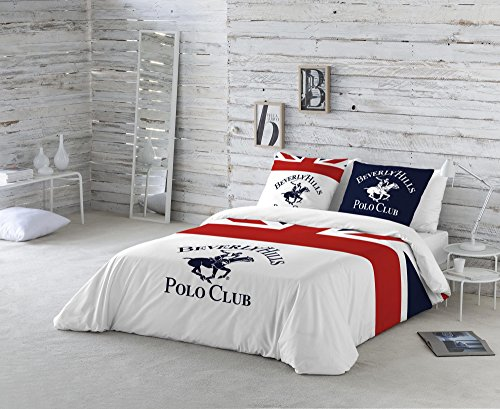 Beverly Hills Polo Club Madison Funda nórdica, Blanco, Rojo, Azul Marino, Cama 150