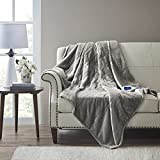 Beautyrest Microlight to Sherpa Reversible Electric Blanket Throw, Adjustable Multi-Level Heat Setting Controller Cozy Living Room Couch, Sofa, Bed, 60x70, Grey