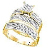 Dazzlingrock Collection /0.53 Carat (ctw) 10k White Diamond Men's And Women's Fashion Engagement Ring Trio Set 1/2 CT, Yellow Gold