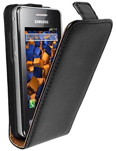 mumbi Echt Leder Flip Case kompatibel mit Samsung Star 2 Hülle Leder Tasche Case Wallet, schwarz